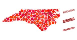 Mosaic Map of North Carolina State and Textured School Seal Composition royalty free illustration