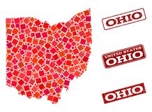 Mosaic Map of Ohio State and Grunge School Seal Composition. Mosaic puzzle map of Ohio State and rubber school seal with ribbon. Vector map of Ohio State stock illustration