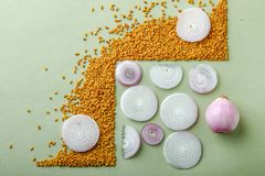 Composition of red onions and spices on table.  stock image
