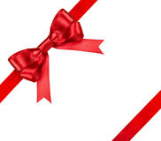 Composition with red ribbons and a bow. Isolated on white Stock Image
