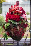 Composition of red rose flowers in the shape of a heart royalty free stock photography