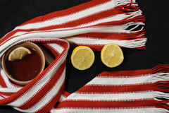 Composition with red-white scarf Royalty Free Stock Photo