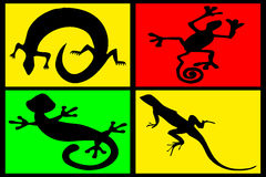 Composition of reptiles. On multicolored background Stock Photo