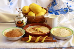 Composition with rice pudding ingredients. On embroidered tablecloth Royalty Free Stock Photos