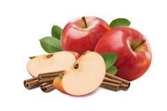 Composition riche en cannelle rouge de pomme d'isolement Images stock