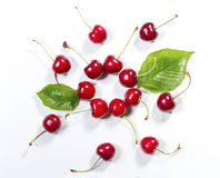 Composition of ripe cherries with leaves. Royalty Free Stock Image