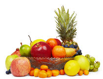 The composition of the ripe fruit on white stock image