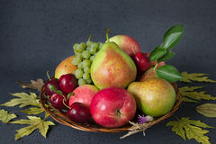 Composition of ripe fruits and yellow autumn leaves on a black background. Harvest concept Royalty Free Stock Images