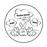 Composition ronde dépeignant trois lapins sur la pelouse Ils pensent à Pâques illustration de vecteur