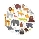 Composition ronde des icônes d'animaux de zoo illustration stock