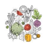 Composition ronde en légumes Graphique linéaire Fond de légumes Type scandinave Nourriture saine Illustration de vecteur illustration de vecteur