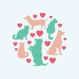 Composition ronde en silhouette de vecteur de chats et de chiens Images stock