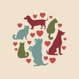 Composition ronde en silhouette de vecteur de chats et de chiens Images libres de droits