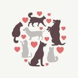 Composition ronde en silhouette de vecteur de chats et de chiens Photographie stock libre de droits