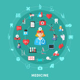 Composition ronde plate en médecine illustration stock