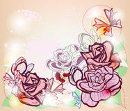 Composition with roses and space for text Royalty Free Stock Photography