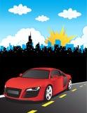 Composition rouge de vecteur de véhicule illustration stock