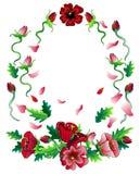 Composition rouge en cadre de fleurs Image stock