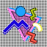 Composition 80s style. Composition 80s of geometric shapes on the background of dots with bright colors vector illustration