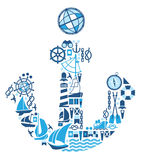 Composition with sailing symbols Royalty Free Stock Photo