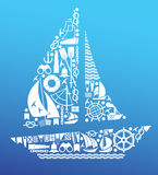 Composition with sailing symbols Stock Photos
