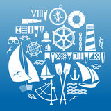 Composition with sailing symbols Royalty Free Stock Photos