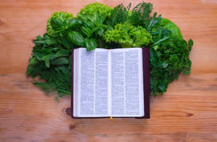 Composition with salad and bible Royalty Free Stock Photos