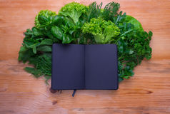 Composition with salad and notepad Stock Image