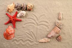 Composition of sand, shells, stones and starfish. Royalty Free Stock Photo