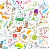 Composition sans couture en alphabet anglais sur le fond rayé illustration de vecteur