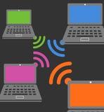 Composition sans fil en connexion d'ordinateur portable illustration stock