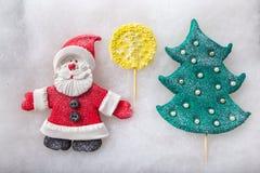 Composition Santa Claus and Christmas tree. handmade Stock Photography