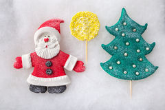 Composition Santa Claus and Christmas tree. handmade Royalty Free Stock Images