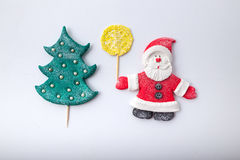 Composition Santa Claus and Christmas tree. handmade Royalty Free Stock Photography