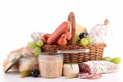 Composition of sausage, meat and pate Royalty Free Stock Photo