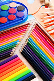 Composition with school accessories for painting and drawing Stock Images