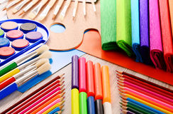 Composition with school accessories for painting and drawing Stock Photos