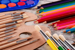 Composition with school accessories for painting and drawing Stock Photography