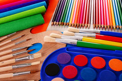 Composition with school accessories for painting and drawing Royalty Free Stock Photos