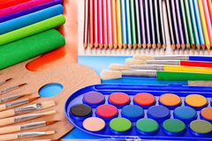 Composition with school accessories for painting and drawing Stock Image