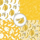 Composition  of seamless pattern with banana fruits on yellow and white background and stickers. Whole and sliced elements. royalty free illustration