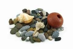 Composition with seashells and cobbles, on white. A very simple composition with two seashells, cobbles and a float, on white Stock Image
