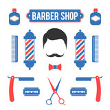 Composition of the set of icons for Barber Shop. Composition of the set of red and blue colors icons for the Barber Shop. Vector elements for your web design or Stock Images