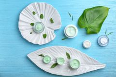 Composition with set of natural cosmetics stock image