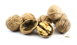 Composition of seven walnuts on a white background Royalty Free Stock Images
