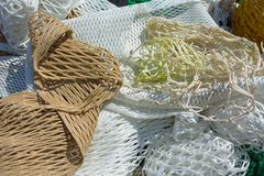 Composition of several nets for fishing Stock Photos