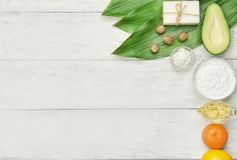 Composition with shea butter and ingredients. For homemade cream on table royalty free stock photography