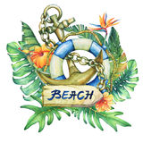 Composition with ship lifebuoy, anchor, flowers and tropical plants. Stock Image