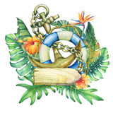 Composition with ship lifebuoy, anchor, nameplate,  flowers and tropical plants. Stock Photo