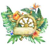 Composition with ship wheel, flowers and tropical plants. Stock Image